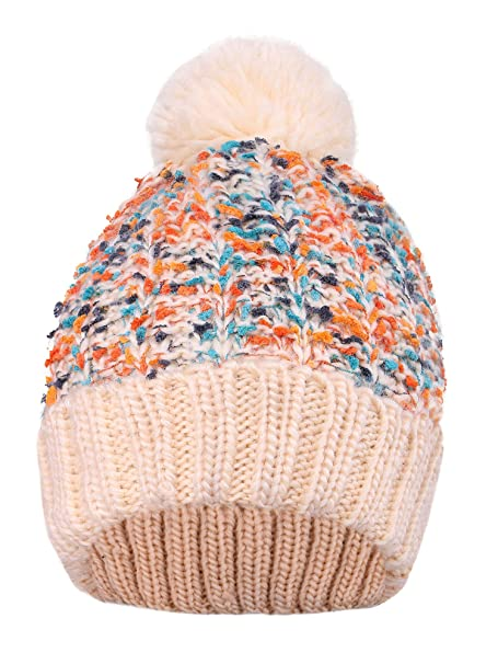 53289059aeee56 Magma Womens Fleece Knit Multicolor Speckled Knit Beanie With Yarn Pompom ,Beige