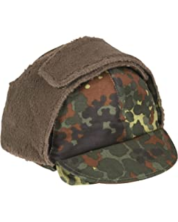 abab7bb118d Genuine German Army Issued Flecktarn Camouflage Winter Pile Hat GRADE 1 USED