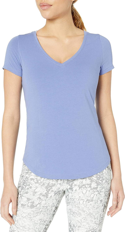 Amazon Brand - Core 10 Women's (XS-3X) Soft Pima Cotton Stretch V-Neck Yoga Short Sleeve T-Shirt
