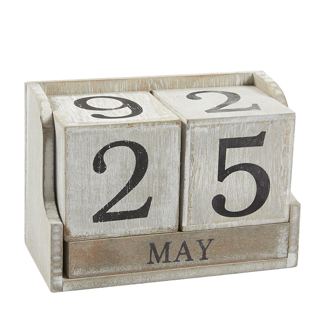 Calendar Block - Wooden Perpetual Desk Calendar - Home and Office Decor, 5.3 x 3.7 x 2.6 inches Juvale