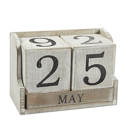 Amazon Com Calendar Block Wooden Perpetual Desk Calendar Home