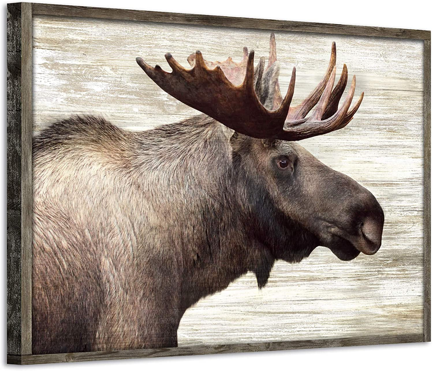 """Wildlife Painting Wood Wall Art: Majestic Moose Artwork Pictures Framed Prints on Wooden Panel for Bedroom (36""""W x 24''H, Multi-Sized / Material)"""
