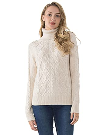 cf59cb220e PrettyGuide Women s Turtleneck Sweater Long Sleeve Cable Knit Sweater  Pullover Tops S Beige