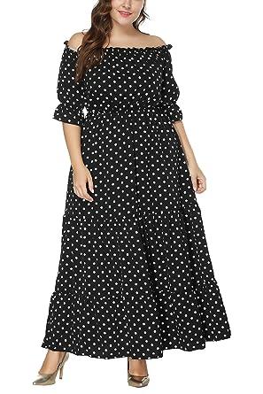 cea68446a7c JYUAN Women s Plus Size Off The Shoulder Short Sleeve Elastic High Waist  Polk Dots Retro Vintage