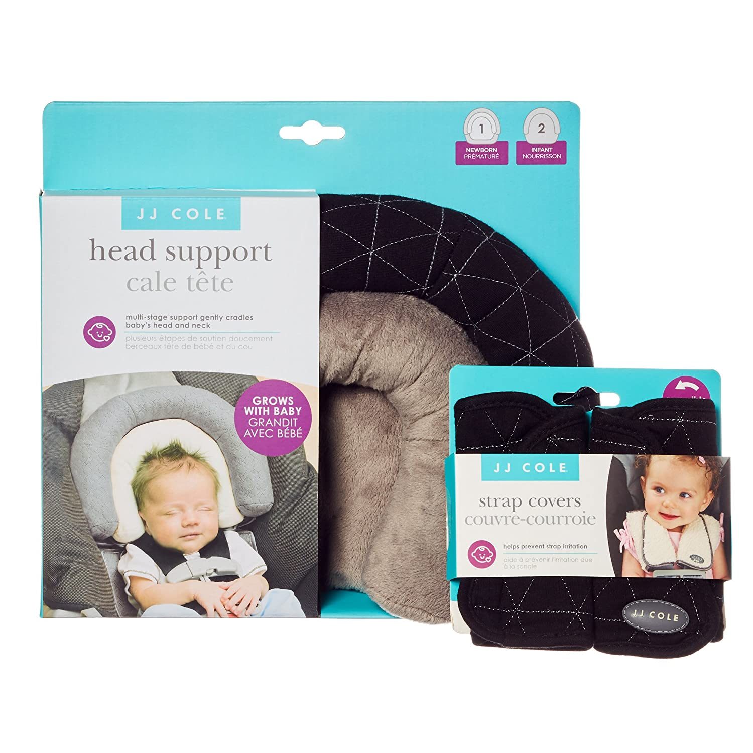 JJ Cole - Head Support & Strap Cover Bundle, Newborn Head and Neck Support Plus Reversible Safety Belt Cushions for The Car Seat and Stroller, Black Tri Stitch, Birth and up J00907+J00908