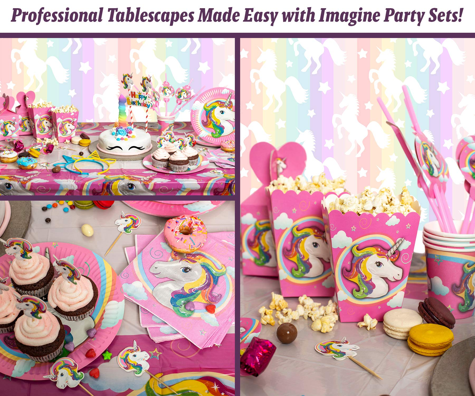 Imagine's Complete Unicorn Party Supplies – 220+ Piece Rainbow Girls Birthday Supplies Pack with Unicorn Balloons… 8