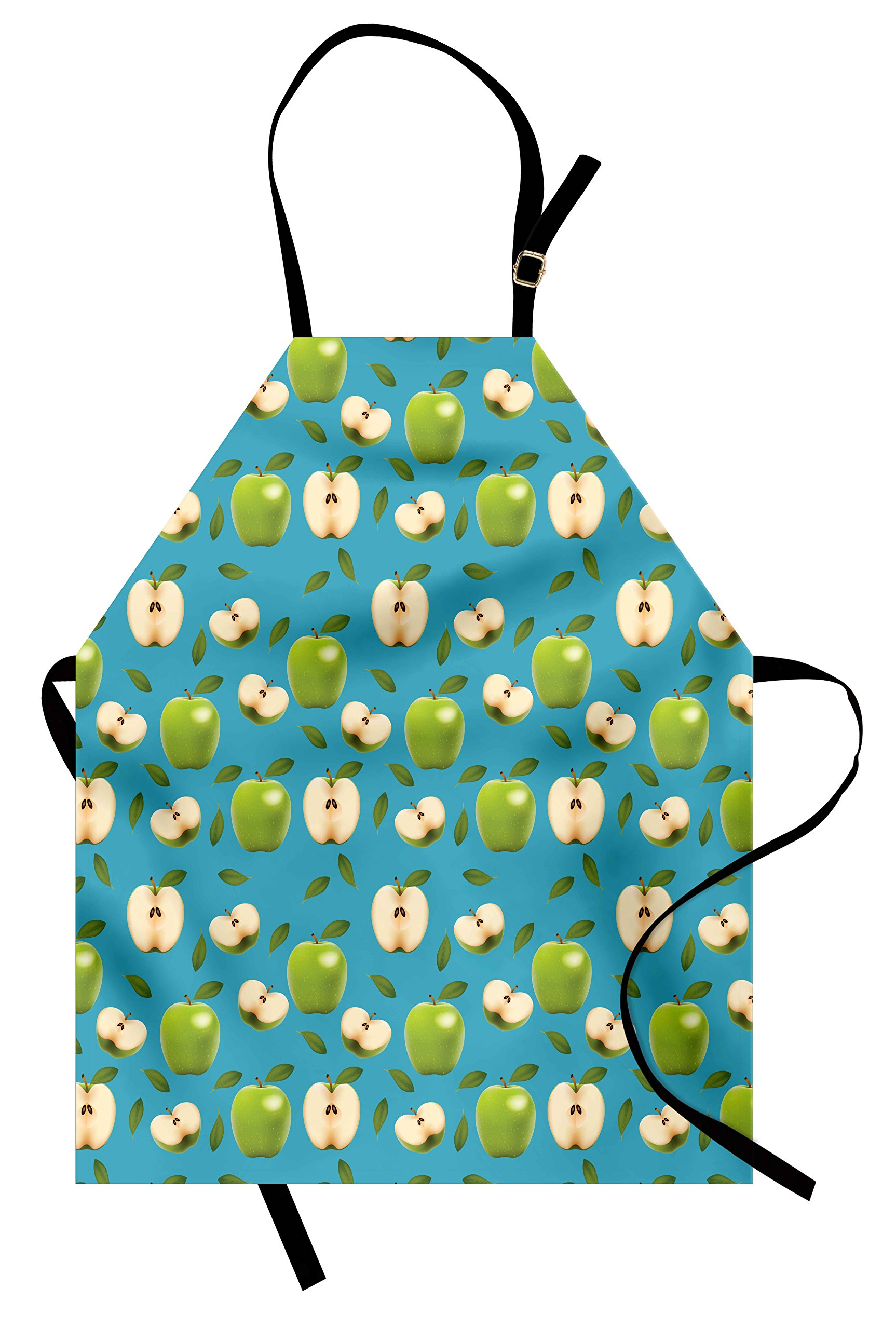 Ambesonne Apple Apron, Fresh Granny Smith Apples Raw Fruit Ornamental Harvest Winter Season Produces, Unisex Kitchen Bib Apron with Adjustable Neck for Cooking Baking Gardening, Apple Green Teal
