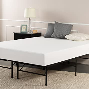 sleep master 8 inch pressure relief queen memory foam mattress and platform metal bed frame