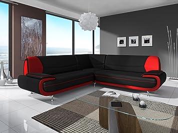 Mobilier Deco CANAPÉ d\'angle Design Noir ET Rouge MUZA: Amazon.fr ...