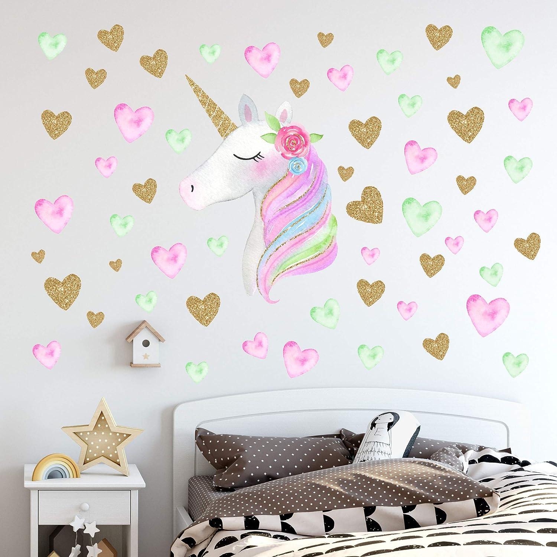 Unicorn Wall Decals,Unicorn Wall Sticker Decor with Heart Flower Birthday Christmas Gifts for Boys Girls Kids Bedroom Decor Nursery Room Home Decor-Unicorn: Baby