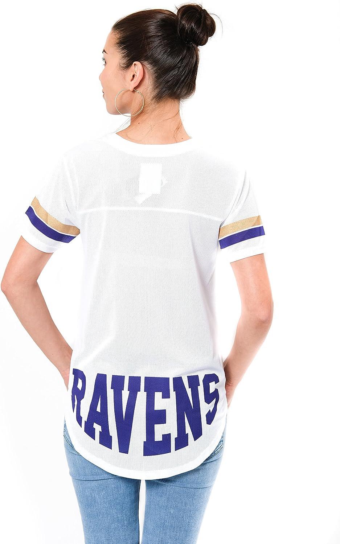 Ultra Game NFL Womens Soft Mesh Jersey Varsity Tee Shirt