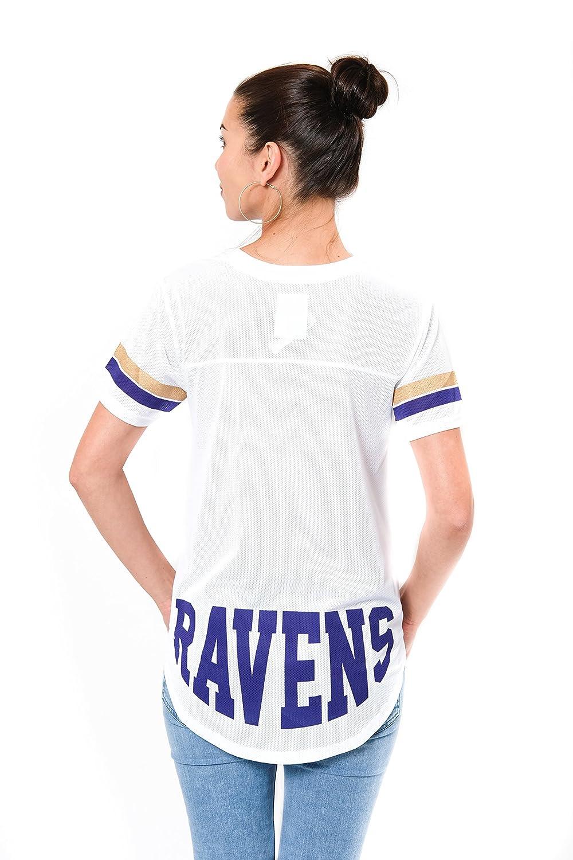 NFL Baltimore Ravens Ultra Game Womens MESH S//S CREW YORK TEE Large White