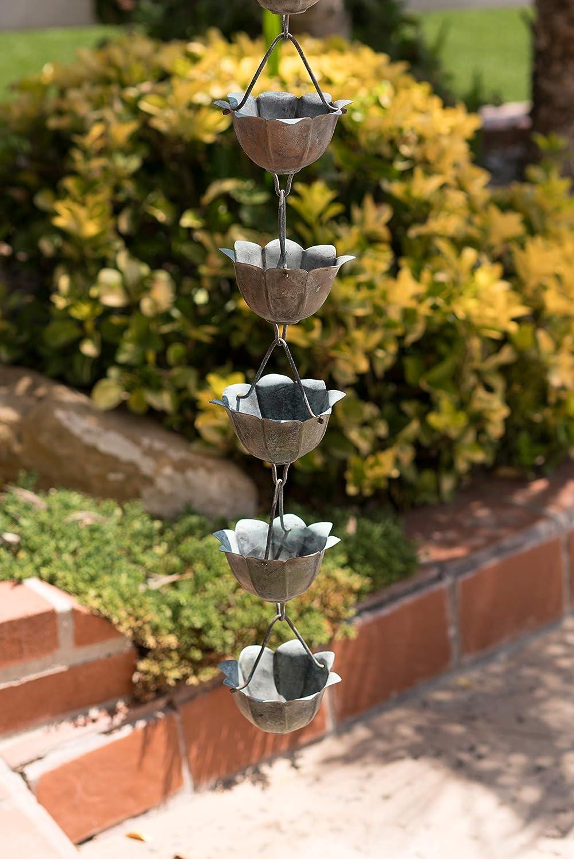 Amazon.com : Monarch Pure Copper Lotus Rain Chain, 8-1/2 Feet Length ...