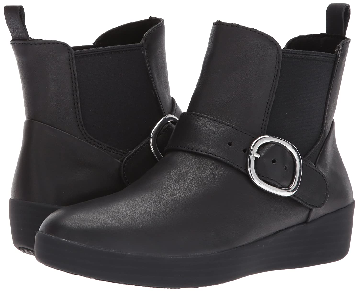 FitFlop Women's Superbuckle Leather Chelsea Fashion Boot B06XGH5CSM 8 M US|Black