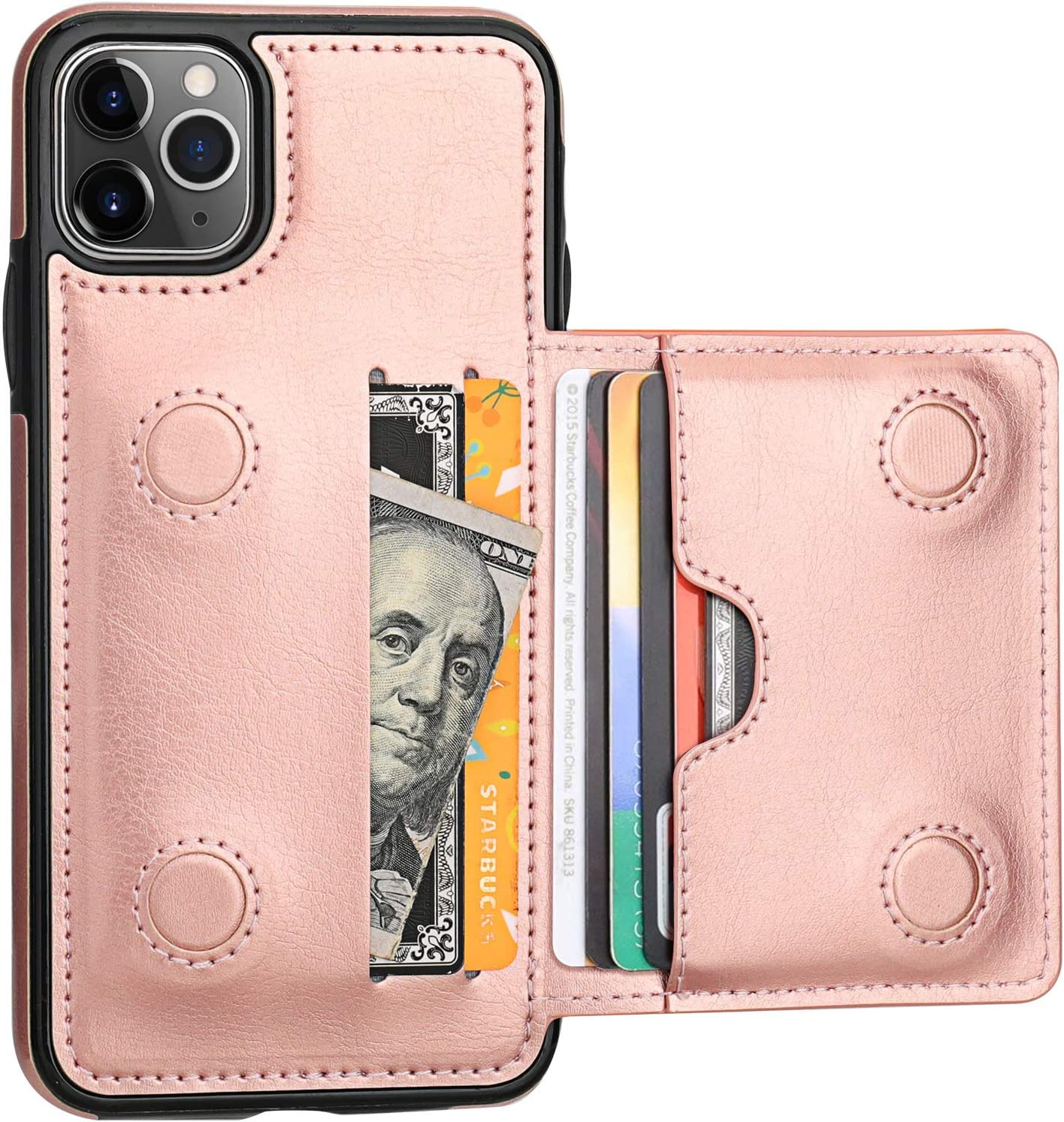 Pink Wallet Case for iPhone 11 Pro Leather Cover Compatible with iPhone 11 Pro