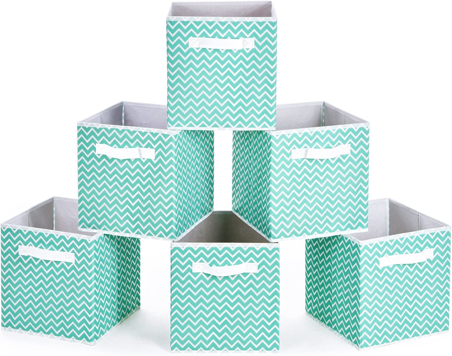 MaidMAX Collapsible Cloth Storage Bins Cubes Baskets Containers with Dual Handles for Home Closet Bedroom Drawers Organizers, Aqua Chevron, 10.5 x 10.5 x 11″, Set of 6