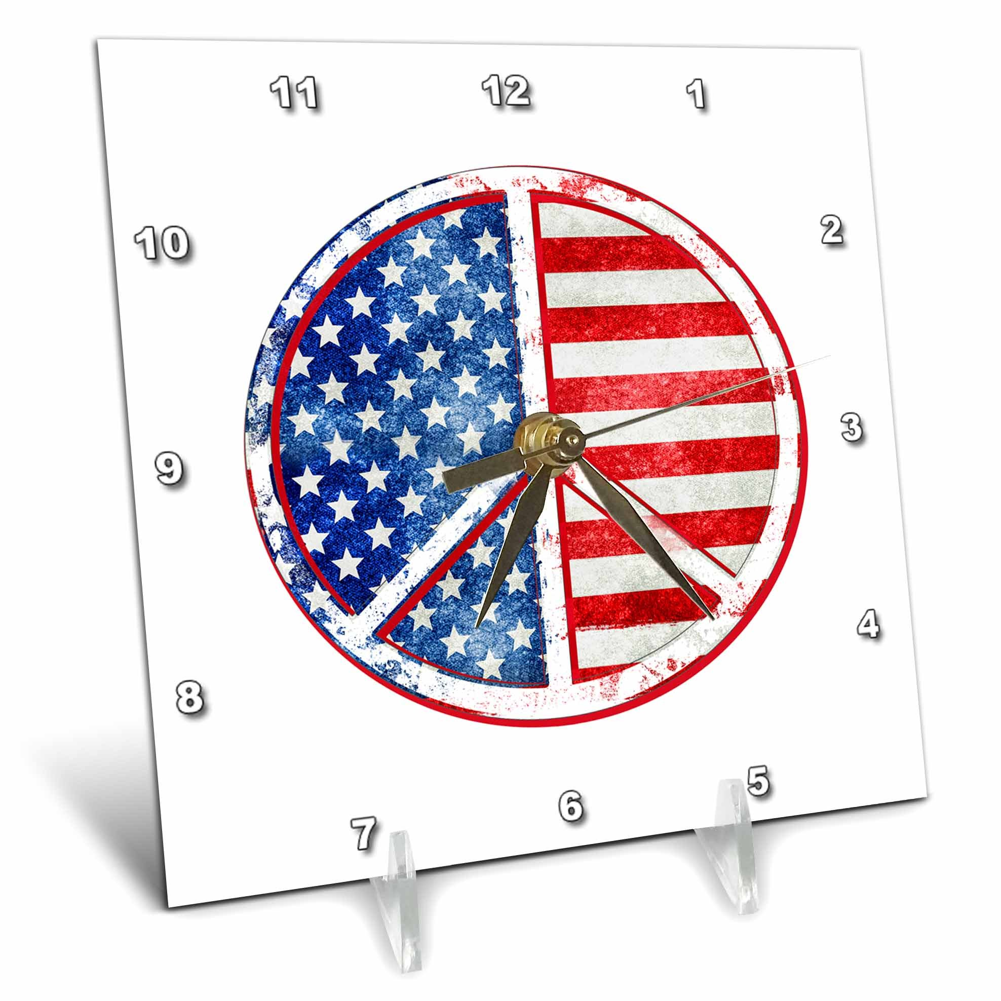 3dRose Andrea Haase Patriotic Art - America Patriotic Typography National Holiday Celebration On Blue - 6x6 Desk Clock (dc_282635_1)