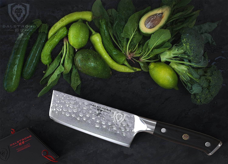 "DALSTRONG Nakiri Vegetable Knife - Shogun Series X - Japanese AUS-10V Super Steel - Damascus - Hammered Finish - 6"" (152mm)"