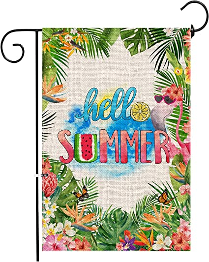 Flamingo and Flowers Garden Flag House Decor Yard Banner Linen Double-sided