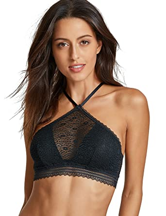 ecae70f310164 DOBREVA Women s Underwired Lightly Padded High Neck Halter Lace Bralette  Black XS-(30A 30B