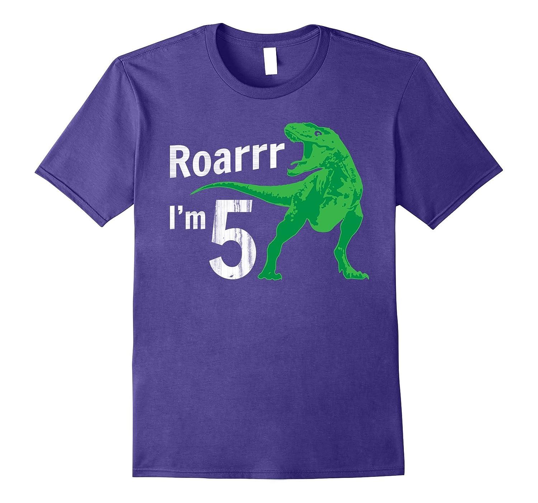 Kids 5th Birthday Dinosaur Gift T-Shirt for 5 Year Old-FL