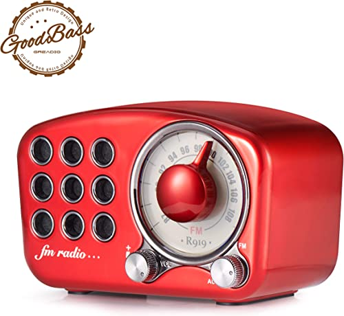 Retro Bluetooth Speaker, Vintage Radio-Greadio FM Radio with Old Fashioned Classic Style, Strong Bass Enhancement, Loud Volume, Bluetooth 4.2 Wireless Connection, TF Card and MP3 Player RED