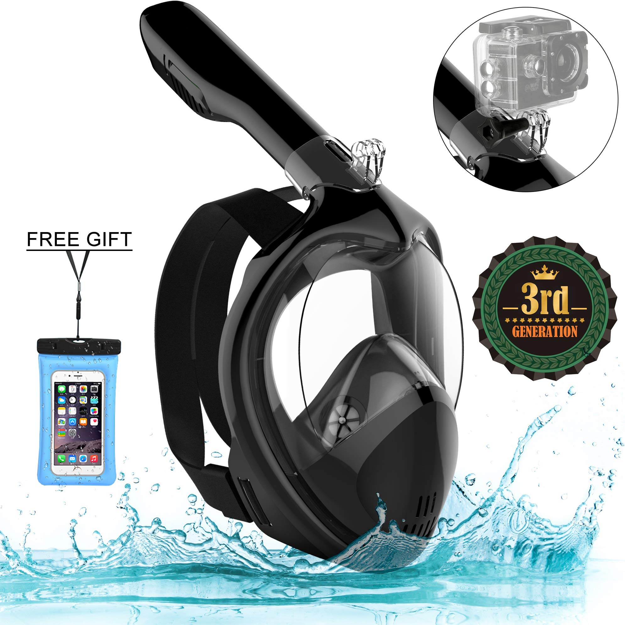 Poppin Kicks Full Face Snorkel Mask for Adult Youth and Kids | 180° Panoramic View Anti-Fog Anti-Leak Easy Breathe GoPro Compatible w/Detachable Camera Mount (Deluxe Black, Large/X-Large) by Poppin Kicks