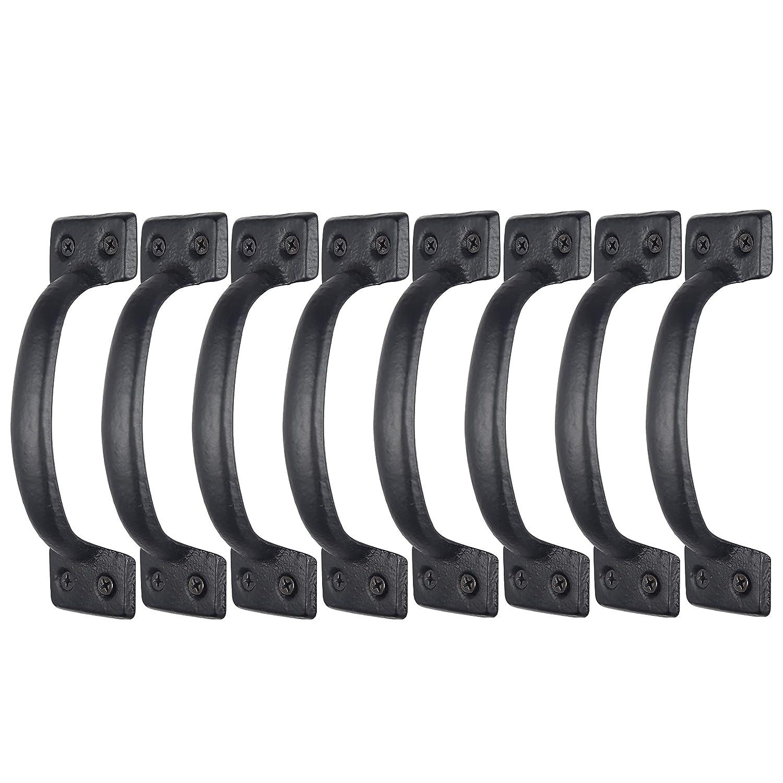 WEBI Gate Handle 6-1//2 Sliding Barn Door Handle,Iron Gate Pull Handle Fence Handle Cabinet Handles for Outdoor,Garage,Closet,Interior,Drawer,Black,4 Packs