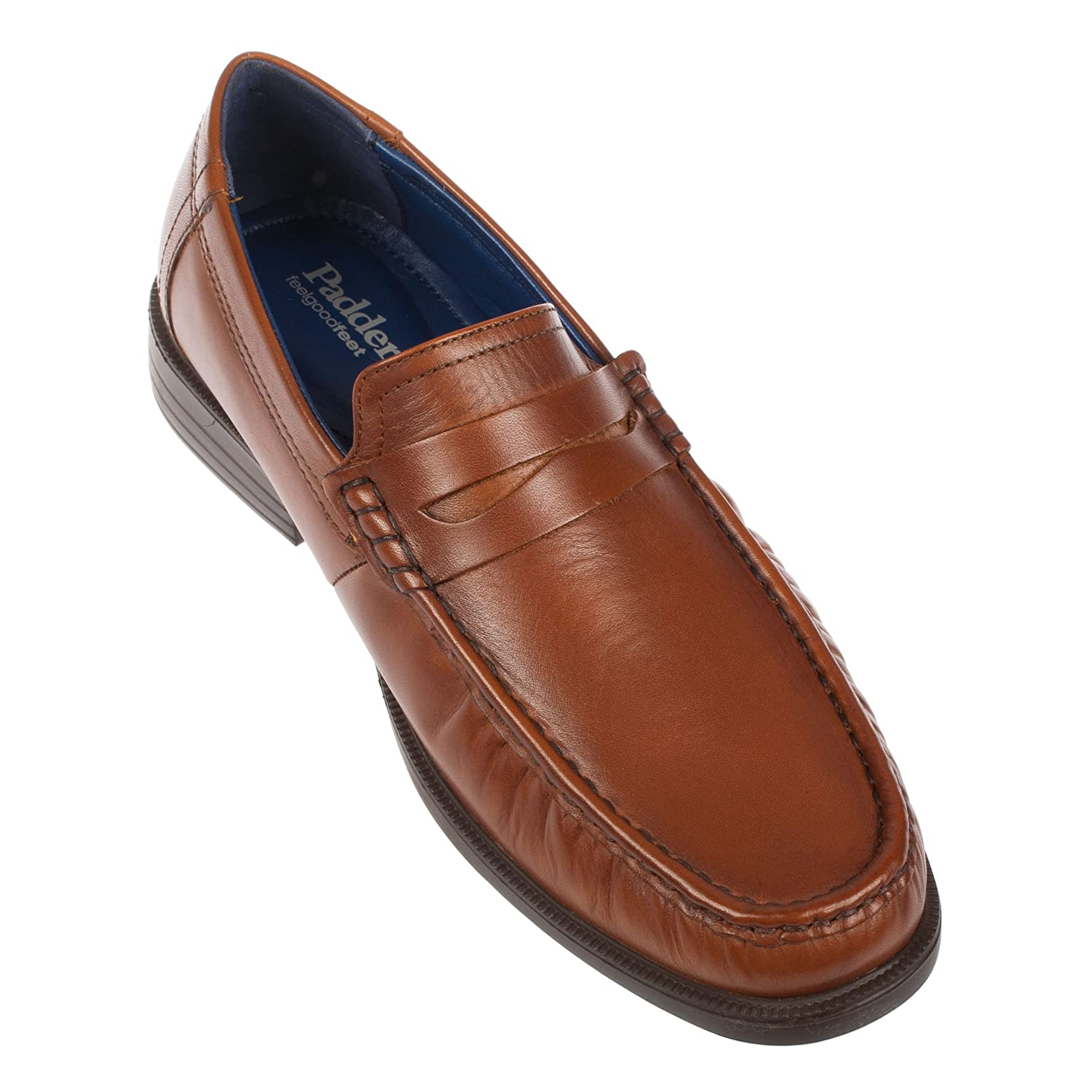 ec55a86b54f23 Padders Baron Mens Leather Wide (G Fit) Loafer Shoes Tan: Amazon.co.uk:  Shoes & Bags