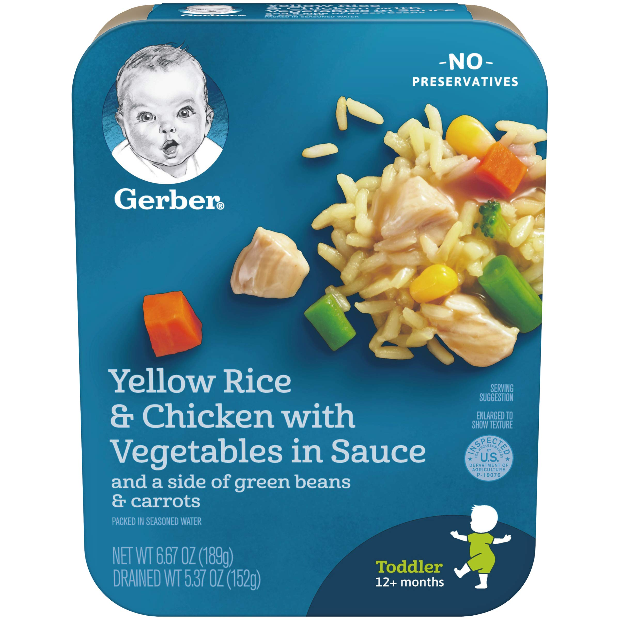 Gerber Graduates Lil Entrees Yellow Rice with Chicken Vegetables 6.67oz packages, 8 Count