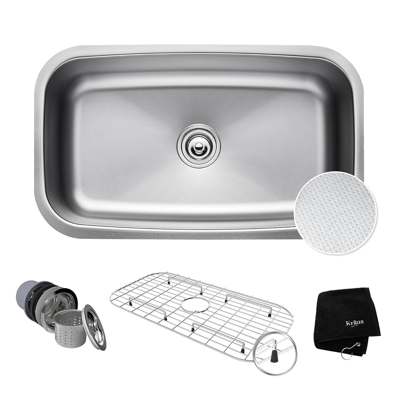 "Kraus Kbu14 E Outlast Micro Shield Scratch Resist Stainless Steel Undermount Single Bowl Sink, 31.5"" 16 Gauge, Premier Series by Kraus"