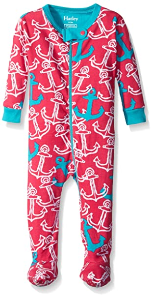 5a8af57e2d1b Hatley Baby Girls  Painted Anchors Footed Coverall