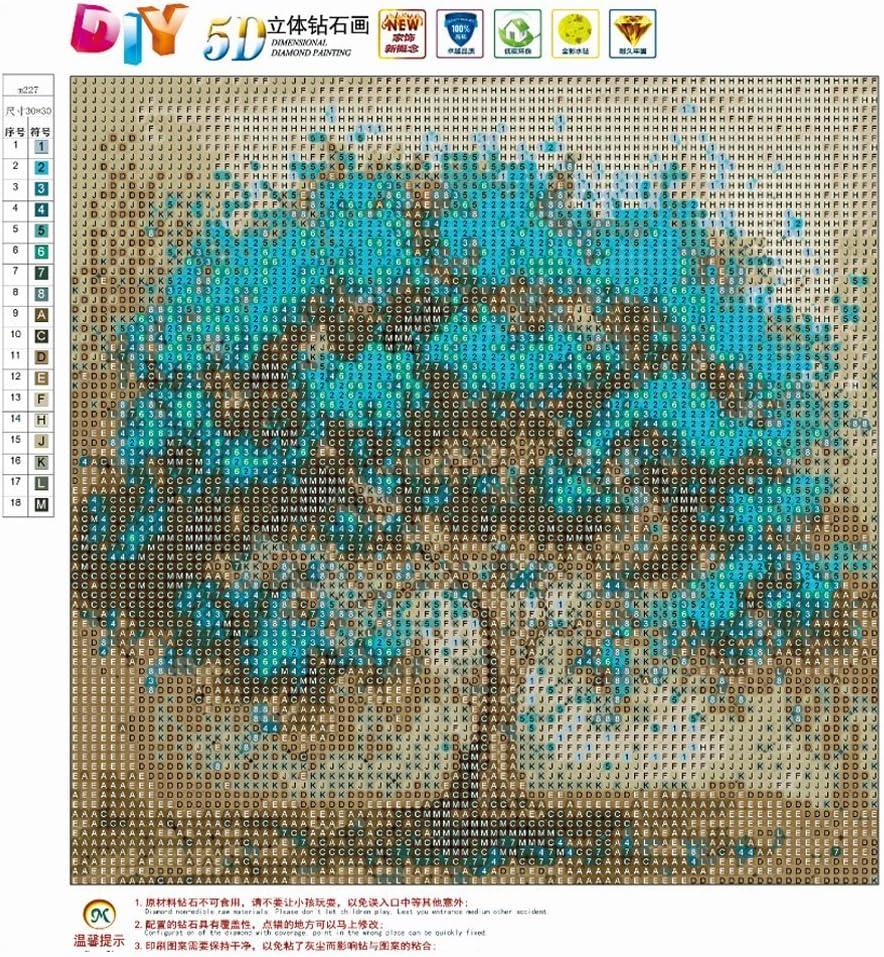 MXJSUA 5D Diamant Malen nach Zahlen Kit DIY Vollrundbohrer Kreuzstich Strass Bild Handwerk Kunst f/ür Hauptwanddekor Blaue Blume Baum 30x30 cm