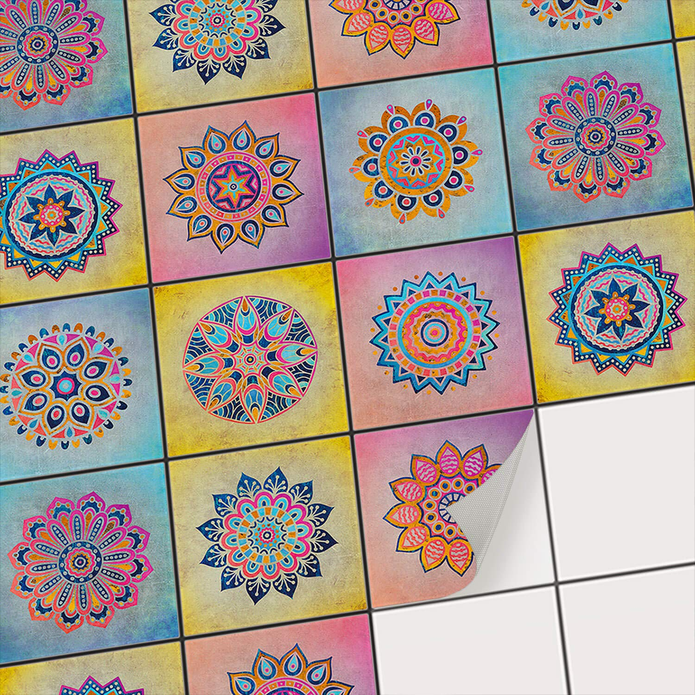 Fliesen-Mosaik Aufkleber - Fliesenaufkleber I Klebefolie zum Fliesen überkleben - Sticker-Fliesen I Renovieren u. Dekorieren von Küchen und Bad-Fliesen I 20x20 cm - Motiv Mosaik Afrika - 27 Stück B073WFVXG9 Wandtattoos & Wandbilder