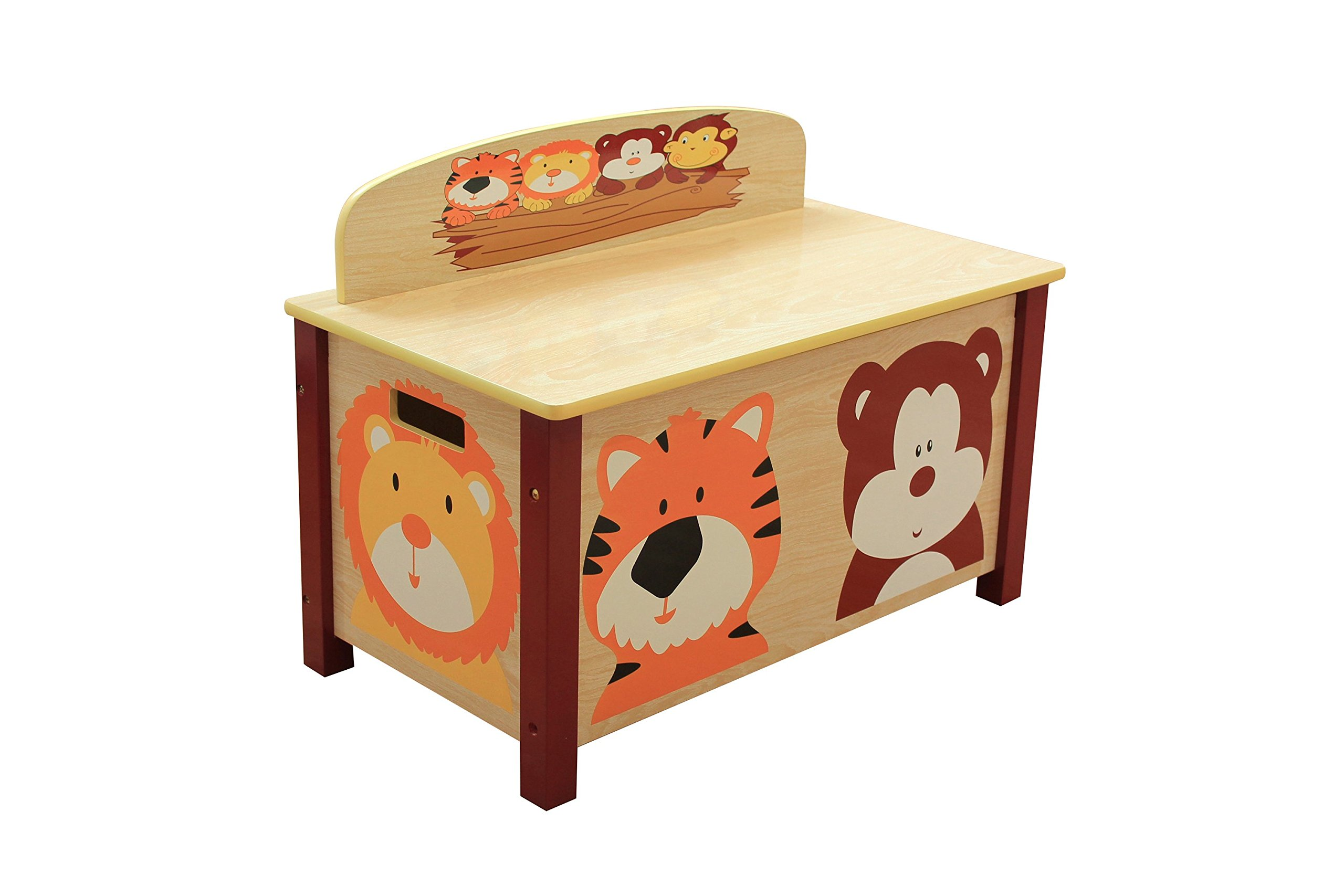 Liberty House Toys Wooden Jungle Big Toy Box, MDF, Natural Wood, 49.5cm H x 39cm W x 68cm D