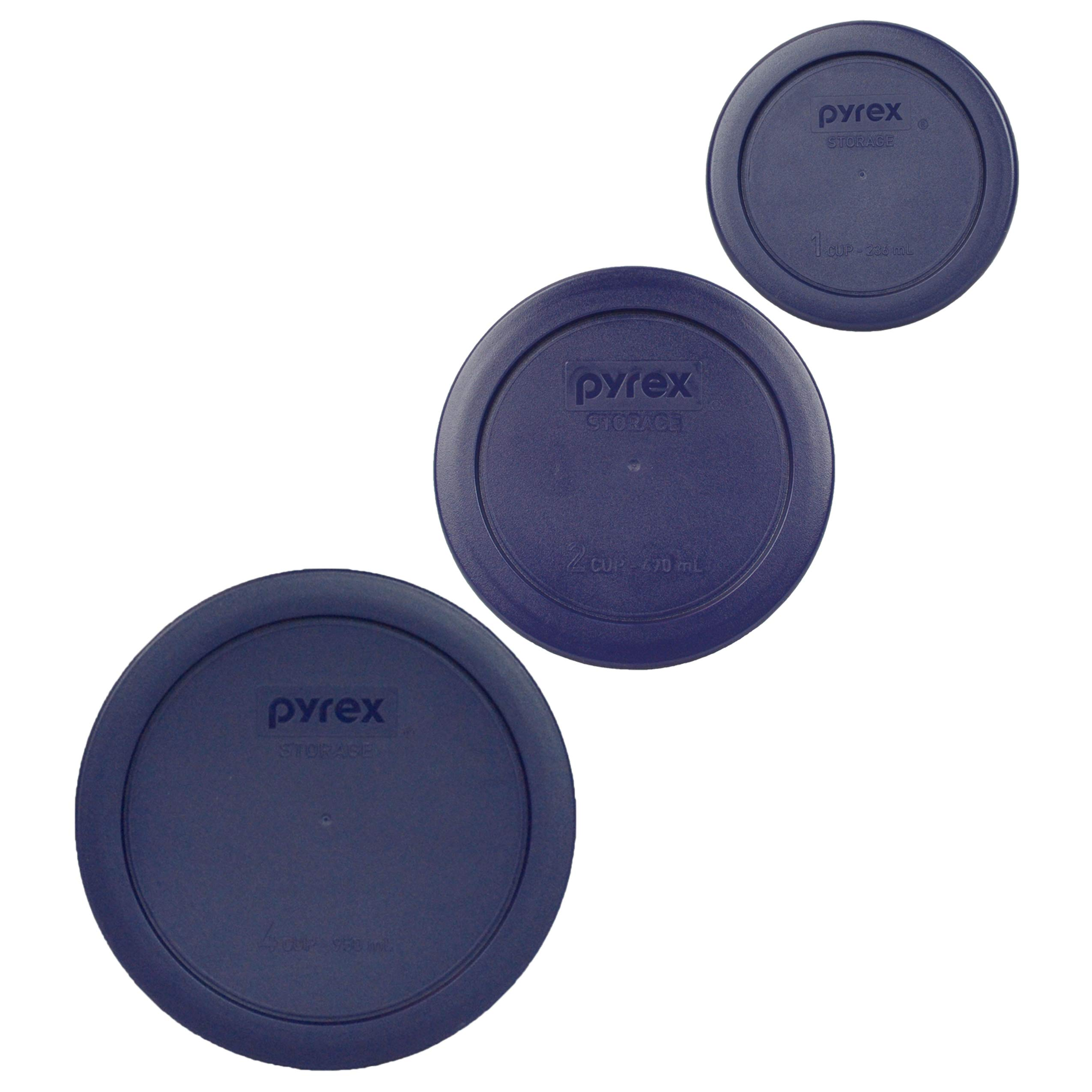 Pyrex (1) 7200-PC 2 Cup (1) 7201-PC 4 Cup (1) 7202-PC 1 Cup Blue Replacement Lids by Pyrex