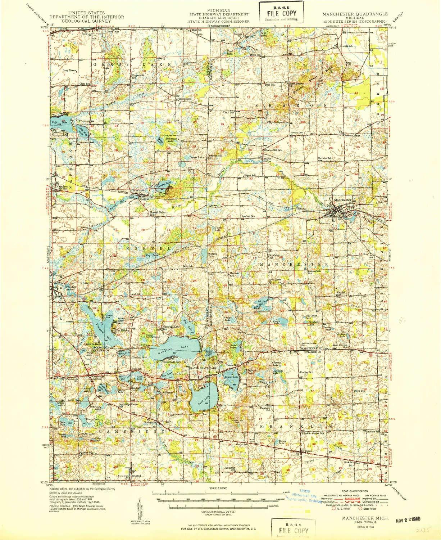 Amazon.com : YellowMaps Manchester MI topo map, 1:62500 Scale, 15 X ...