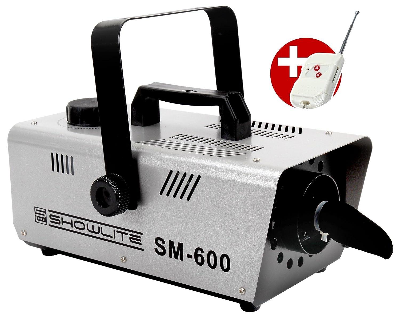 Showlite SM-600 Schneemaschine 600W mit Funk-Fernbedienung (30 m³/min Schneeausstoß, keine Aufwärmzeit, Tankvolumen: 1 Liter, inkl. Hängebügel) silber keine Aufwärmzeit