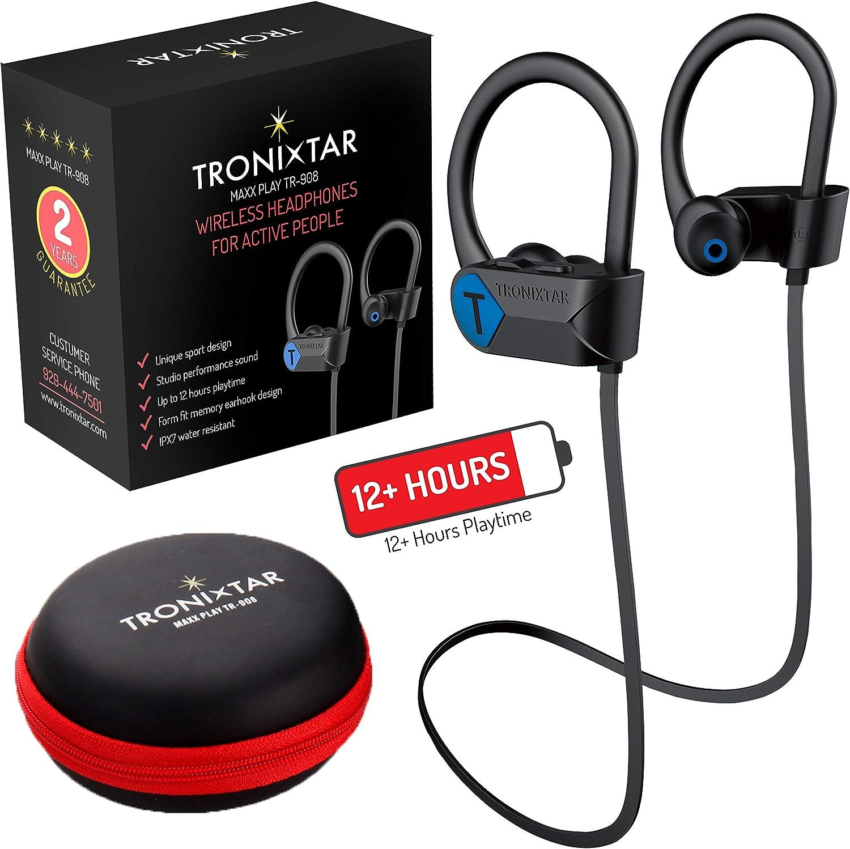 TRONIXTAR Wireless Sports Earphones Running Bluetooth Headphones with 12 Hours Battery Memory-Hooks, MAXX Play TR-908 Flexible Ear Hooks, IPX7 Waterproof, Sweatproof Earbuds 2 Year Warranty