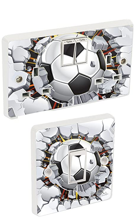 Football breaking wall light switch double socket sticker vinyl football breaking wall light switch double socket sticker vinyl skin cover sosw21 mozeypictures Images