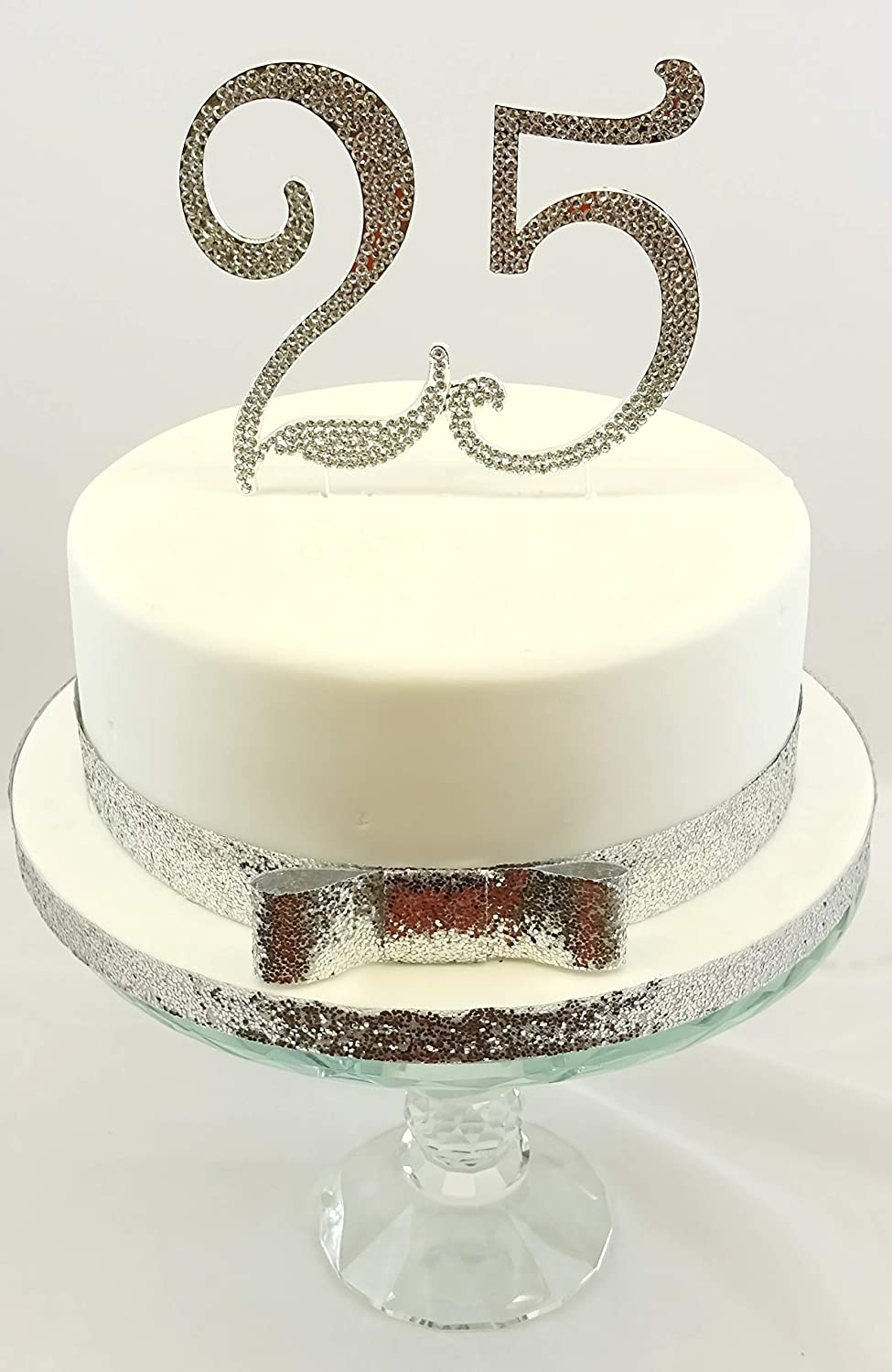 25th Birthday Or Silver Wedding Anniversary Cake Topper Extra Large Number 12cm Silver With Sparkling Rhinestones With Ribbon Set Amazon Co Uk Kitchen Home