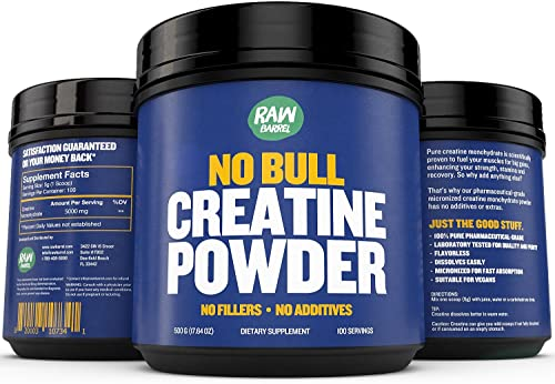 Creatine Monohydrate Powder – Faster Recovery, Muscle Mass Builder, Increase Volume, Strength, Power – Micronized for Fast Absorption – Pure Pharmaceutical Grade Supplement, 500g, 17.6 oz – Raw Barrel