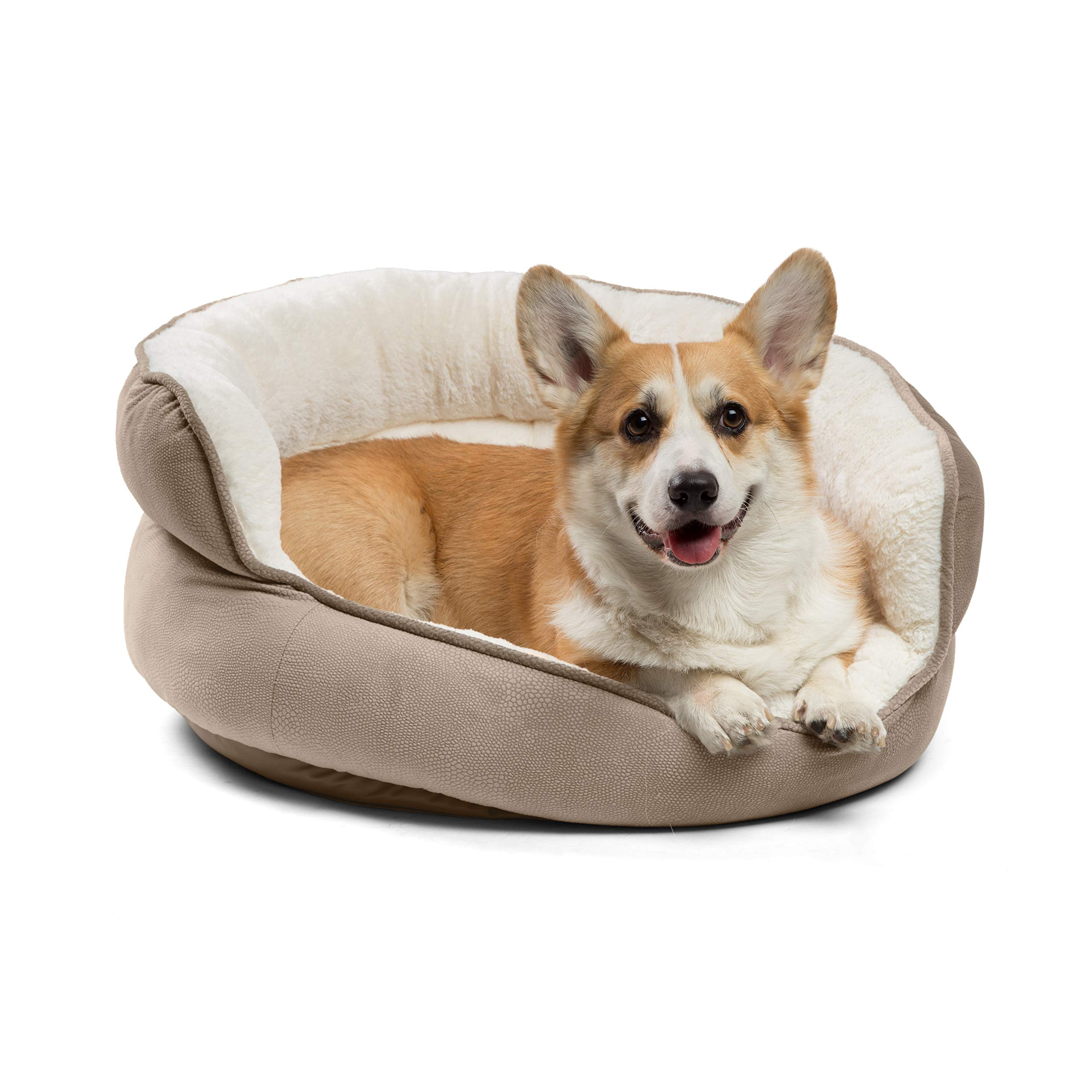 Best Friends by Sheri Jumbo Pet Throne - Luxury Dog and Cat Bed, High Walls for Security and Deep Rest, Machine Washable (Wheat) by Best Friends by Sheri