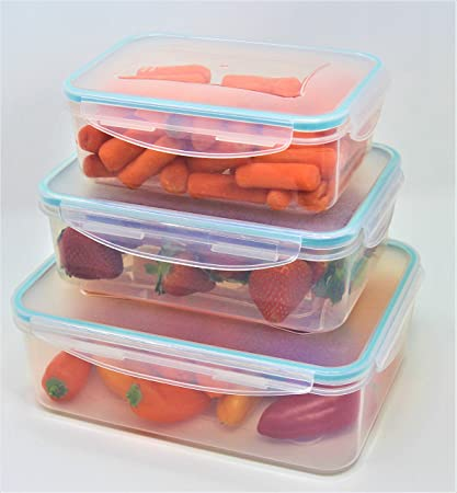 Inspired Living by Mesa Pantry Clear Plastic Piece Rectangular Click-N-Lock  Collection 6 Pc  Food Container Set by Inspired Living, Rect, ASSORTED