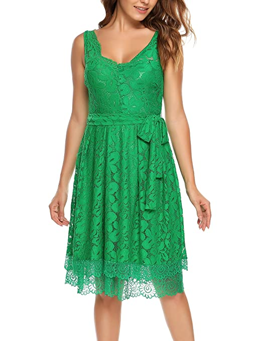 Meaneor Women Double V Neck Sleeveless Floral Lace Cocktail Midi Dress with Belt at Amazon Womens Clothing store: