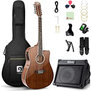 Vangoa 12 String Guitar with Acoustic Guitar Amplifier, 40 Watt Portable Rechargeable Guitar Amp with Bluetooth