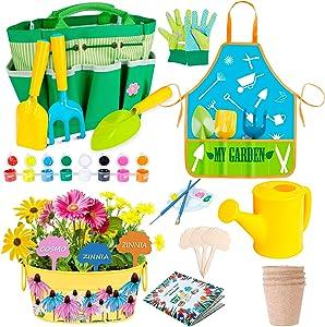 INNOCHEER Kids Gardening Tools Set with Garden Guide Book -20 Pieces Garden Kit with Mental Planter, Apron, Watering Can, Gloves, Shovel, Rake, Trowel, Garden Tote, Biodegradable Pots for Girls Boy 3+