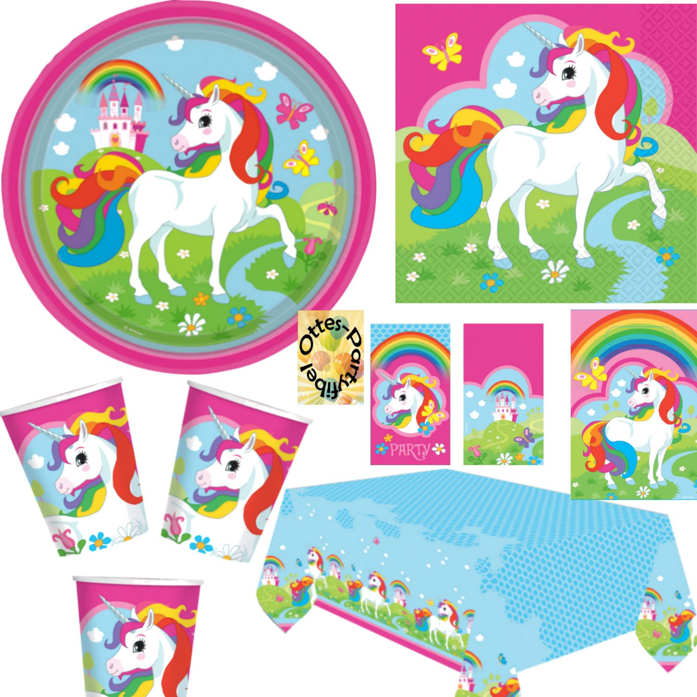 Einhorn Regenbogen Partyset mit Deko 86tlg. für für für 16 Kinder Teller Becher Servietten 2 Tischdecken Tüten Einladung 4e9e6b