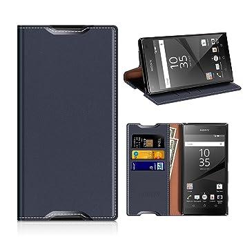 MOBESV Funda Cartera Sony Xperia Z5, Funda Cuero Movil Sony Xperia Z5 Carcasa Case con Billetera/Soporte para Sony Xperia Z5 - Azul Oscuro