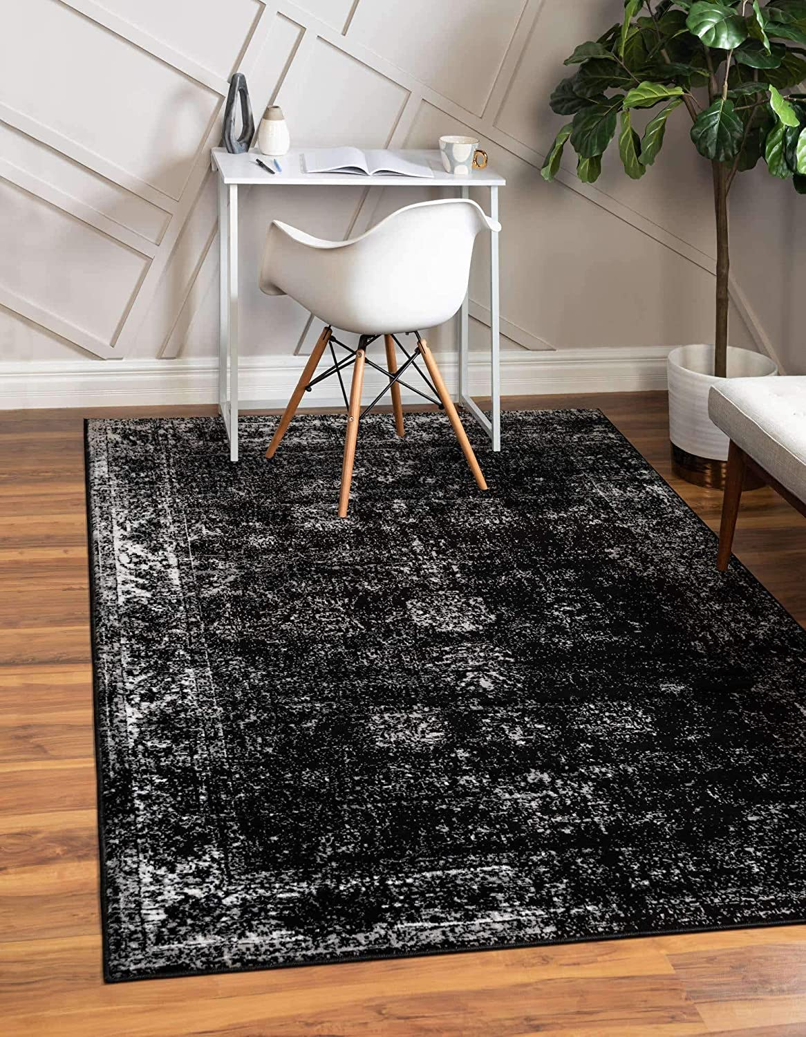 Unique Loom Sofia Traditional Area Rug, 6' 0 x 9' 0, Black